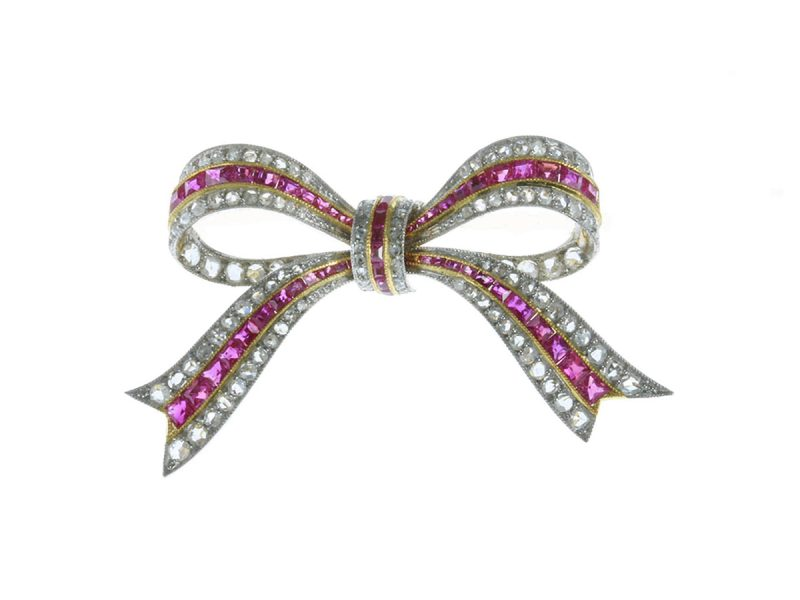 Ruby & diamond bow brooch
