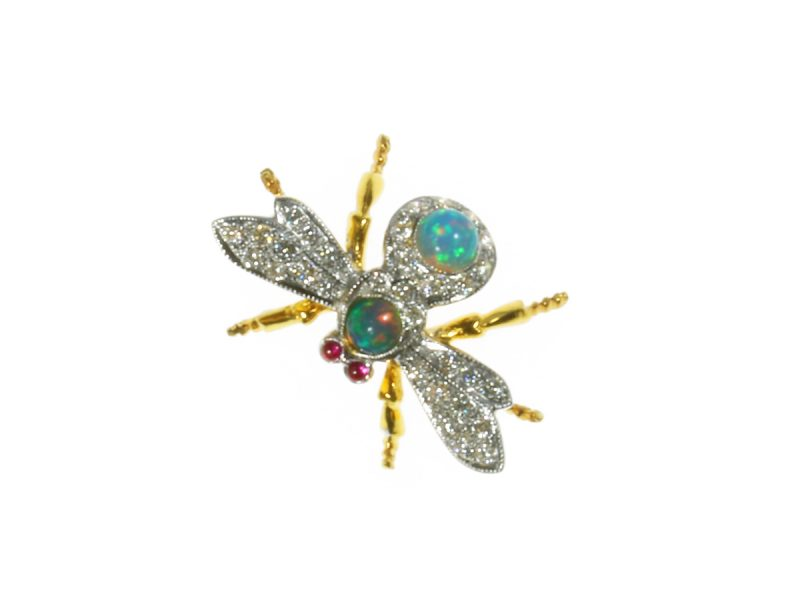 Opal & diamond bee brooch