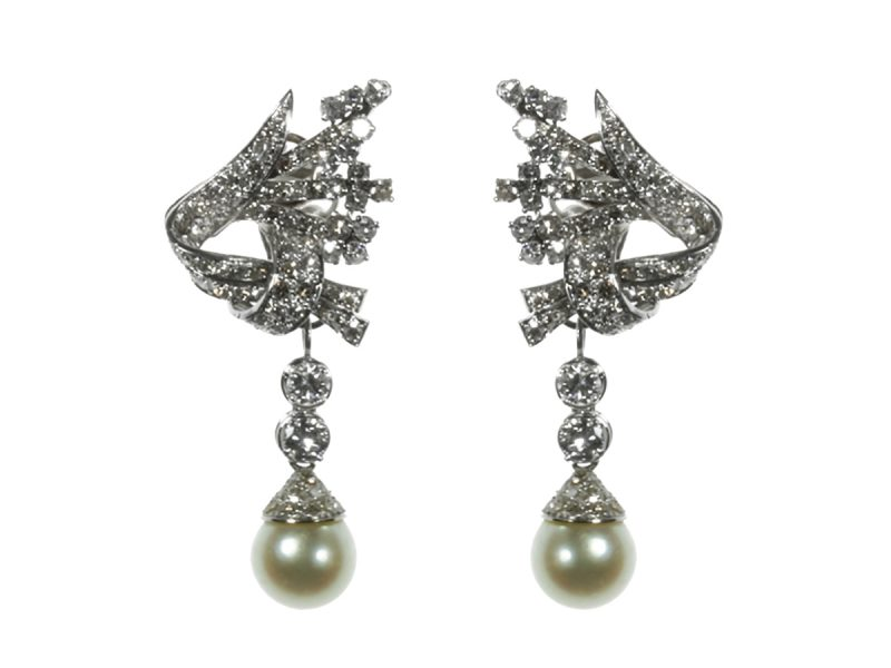 Diamond & pearl day & night earrings