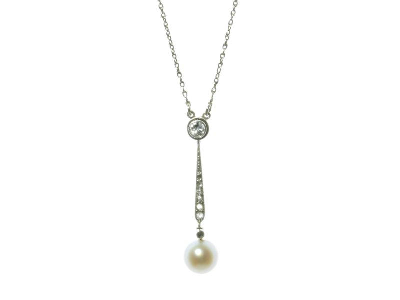 Edwardian cultured pearl & diamond pendant