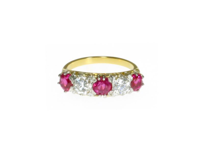 Ruby & diamond five stone ring