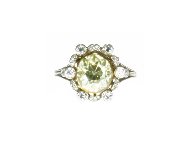Natural yellow coloured diamond cluster ring