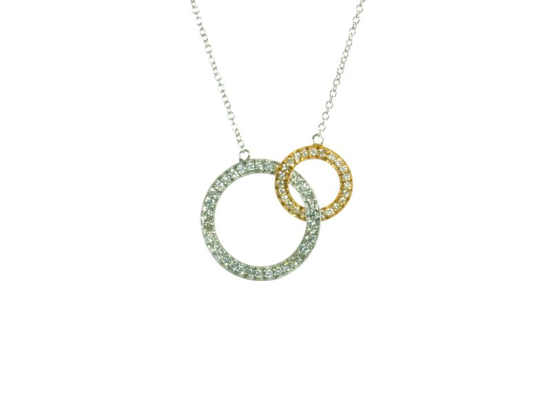 Two colour gold diamond set pendant
