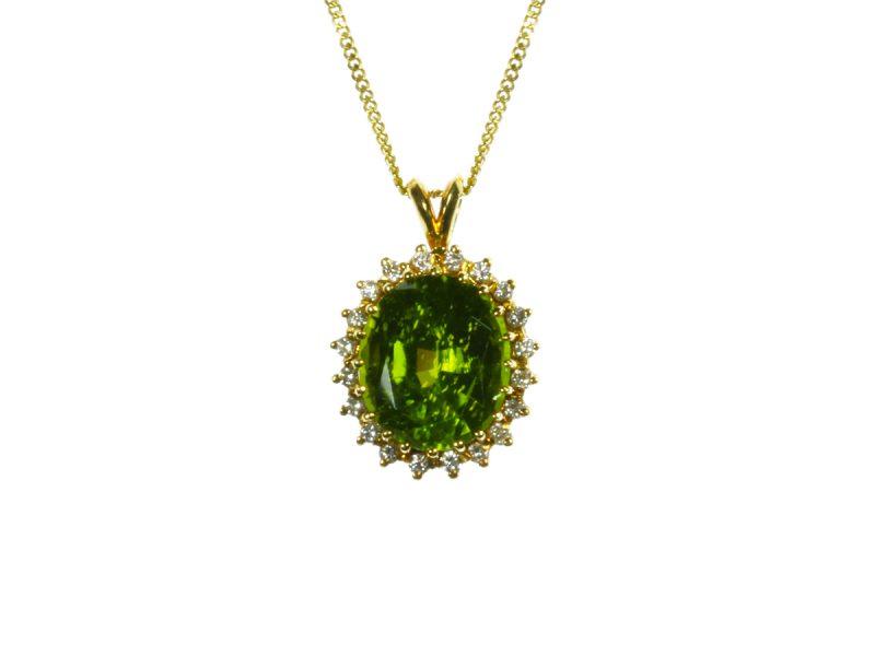 Peridot & diamond pendant