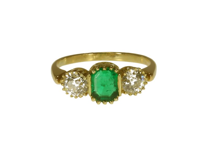 Edwardian emerald & diamond ring