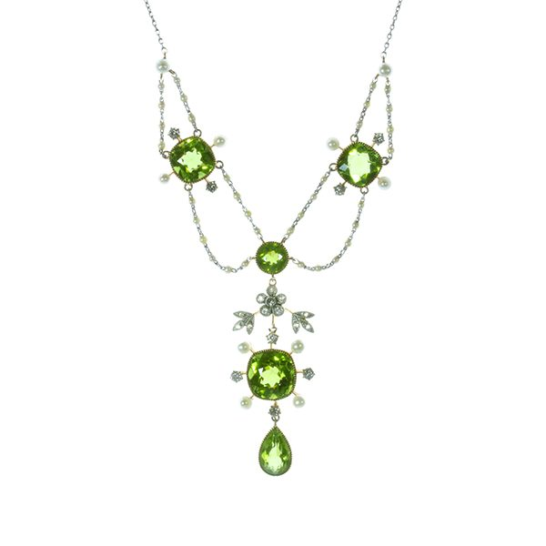 Edwardian peridot, pearl & diamond necklace
