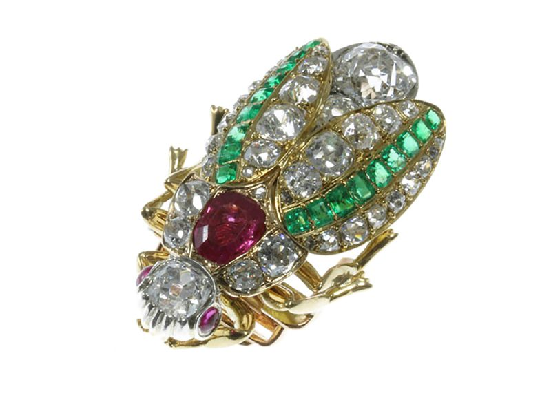 Ruby, emerald & diamond bug brooch