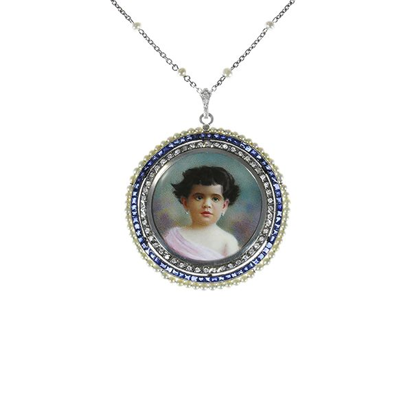 Portrait miniature in a sapphire & pearl pendant