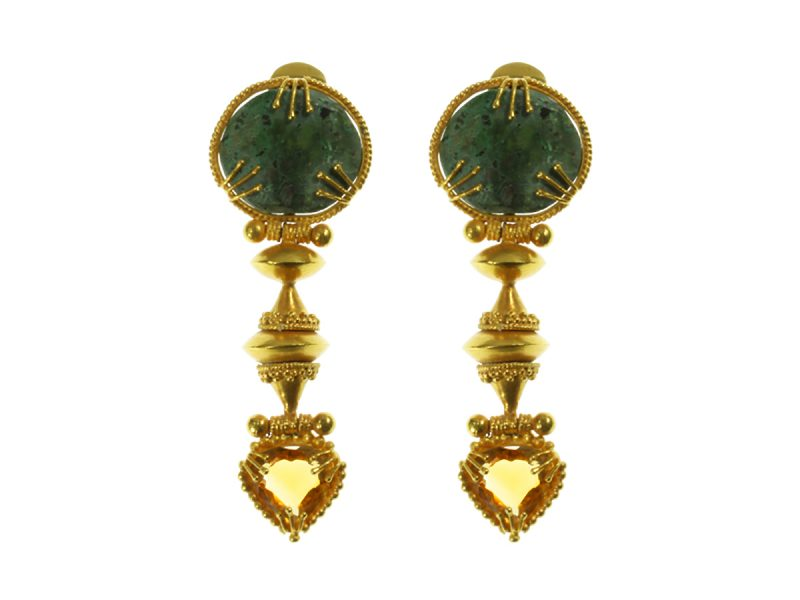 Etruscan style drop earrings