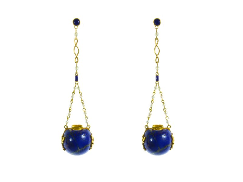 Lapis lazuli & pearl drop earrings