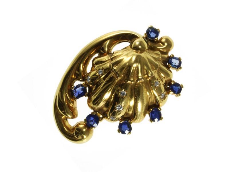 Sapphire & diamond brooch by Cazzaniga