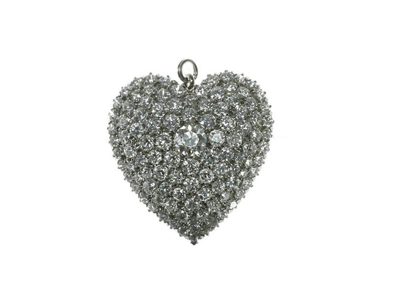 Diamond set heart pendant / brooch
