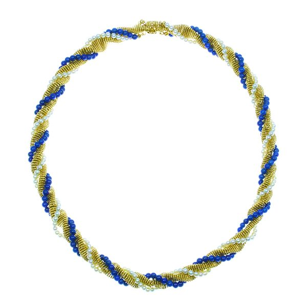 Lapis lazuli & pearl necklace by Bulgari