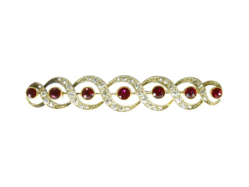Ruby & diamond brooch