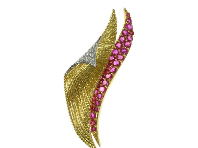 Ruby & diamond brooch by Tiffany & Co.
