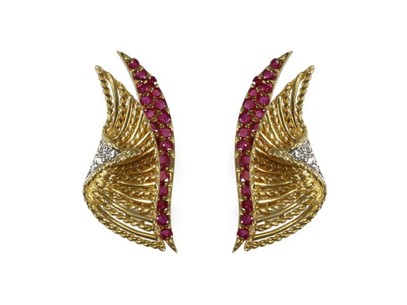 Ruby & diamond earrings by Tiffany & Co.