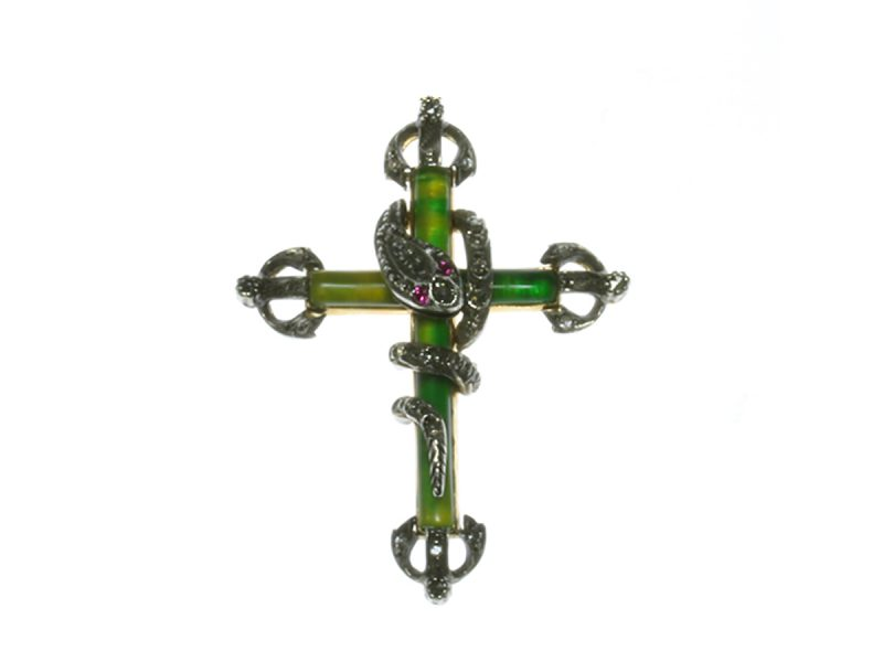 Diamond set serpent cross
