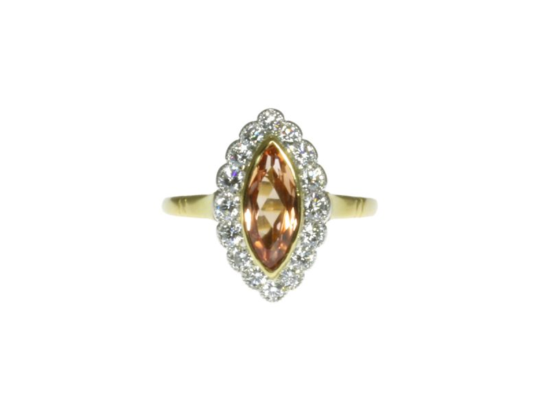 Marquise shape topaz & diamond cluster ring