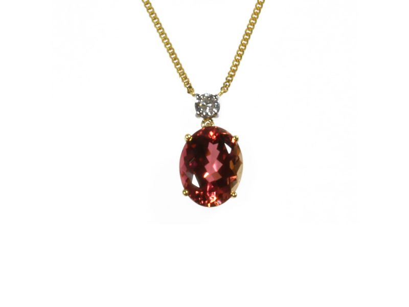 Peach tourmaline & diamond pendant