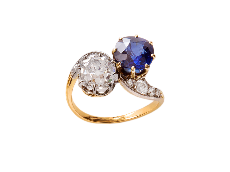 Sapphire & diamond cross over ring