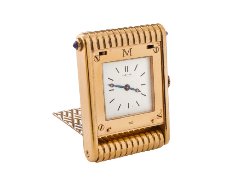 18ct gold travel / desk clock by Cartier