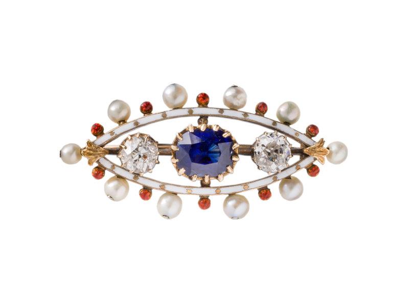 Enamel brooch set with sapphire, diamonds & pearls