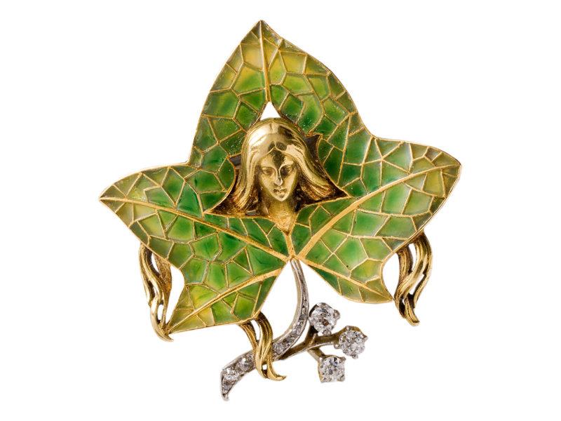 Plique-à-jour diamond brooch / pendant