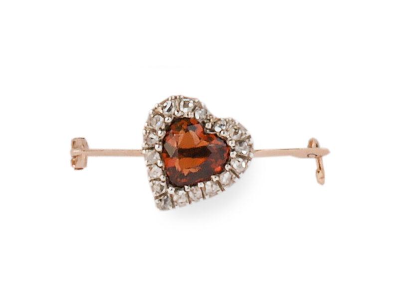 Antique Citrine & Diamond Heart Brooch