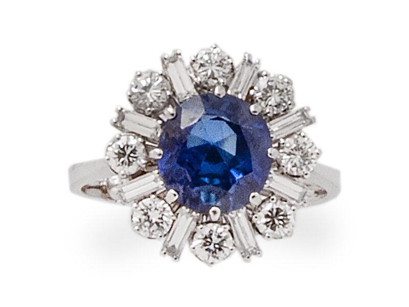 Burmese Sapphire & Diamond Cluster Ring