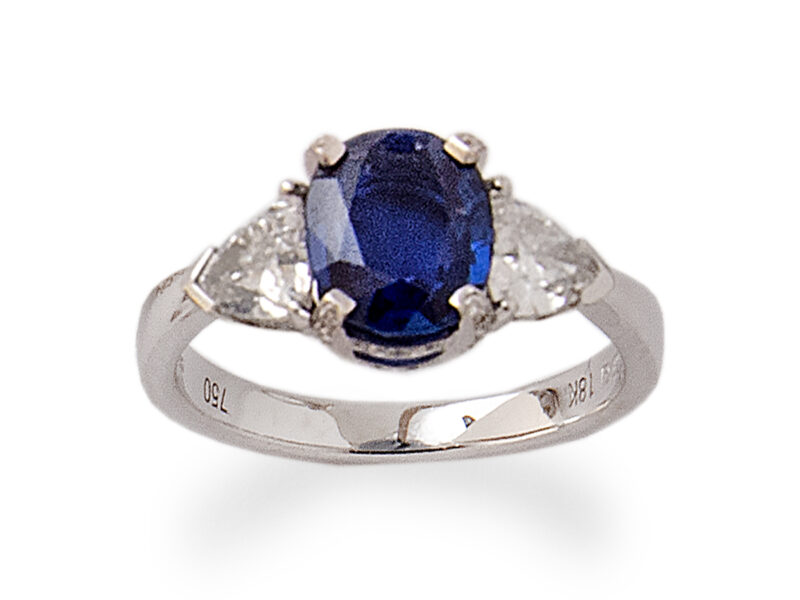 Burmese Sapphire & Diamond Three Stone Ring