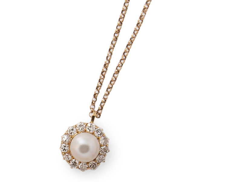 Certificated Natural Pearl & Diamond Cluster Pendant