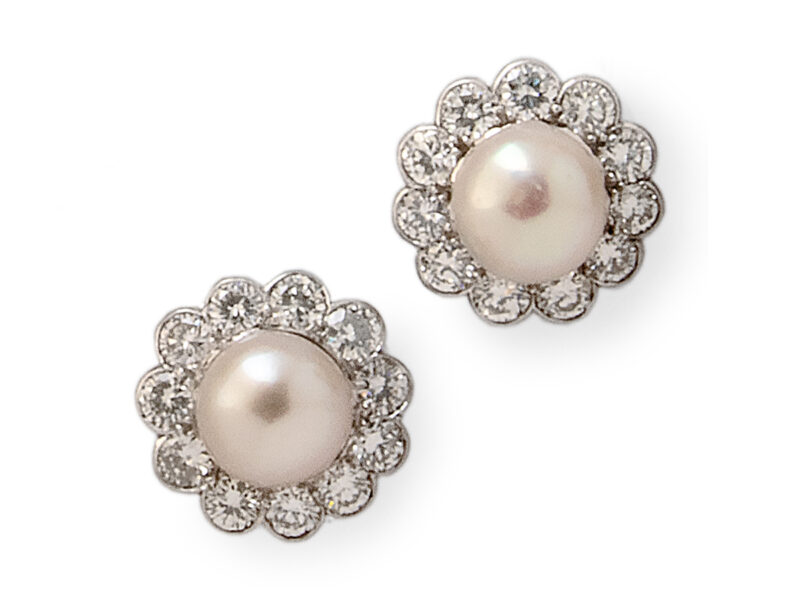 Cultured Pearl & Diamond Cluster Earrings