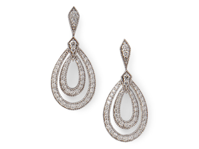 Diamond Set Drop Earrings