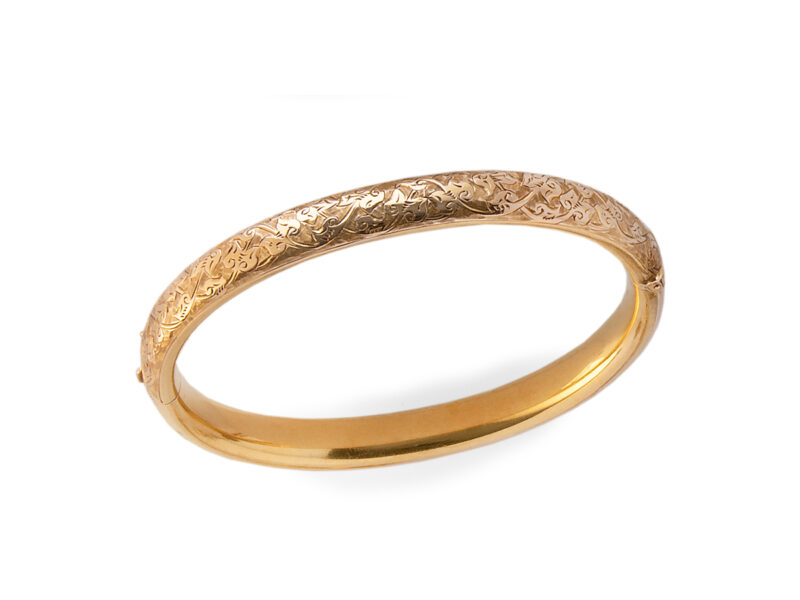 Engraved Bangle Stamped 15ct