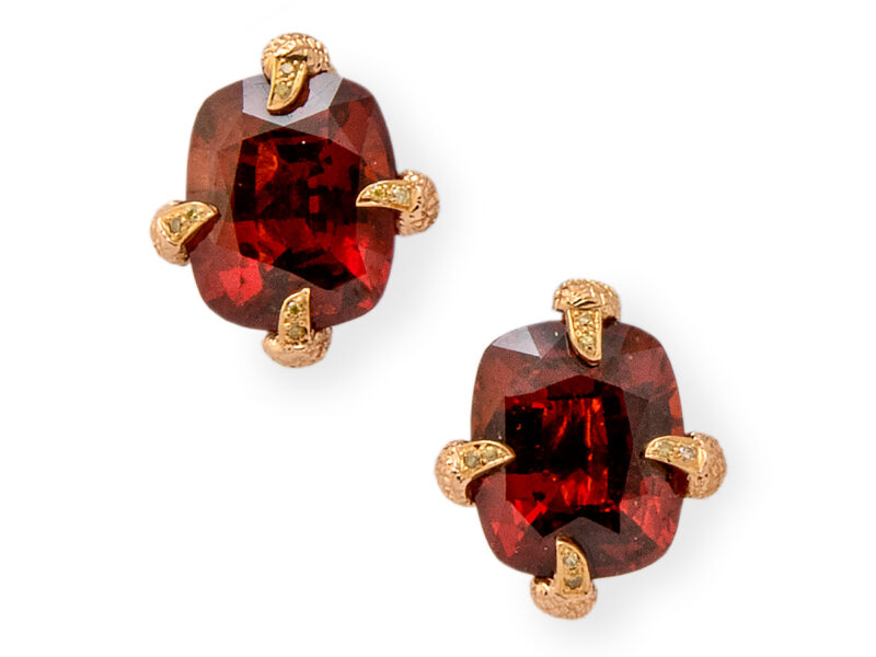 Garnet Earrings Set With Diamonds On Each Claw