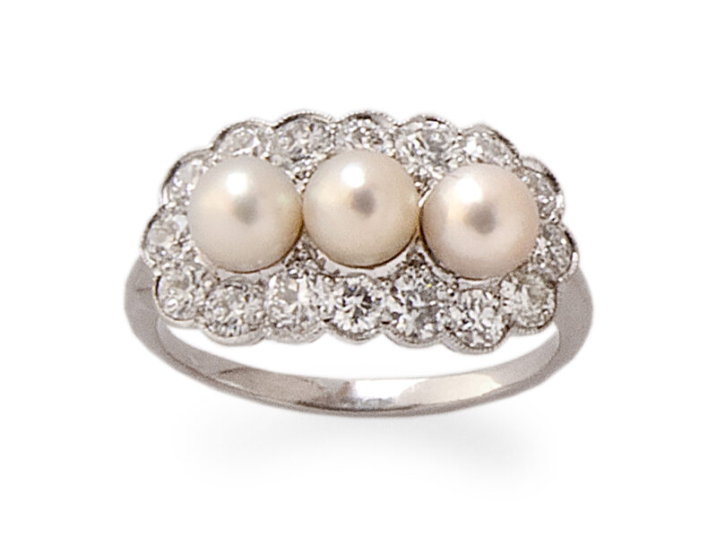 Natural Pearl & Diamond Ring