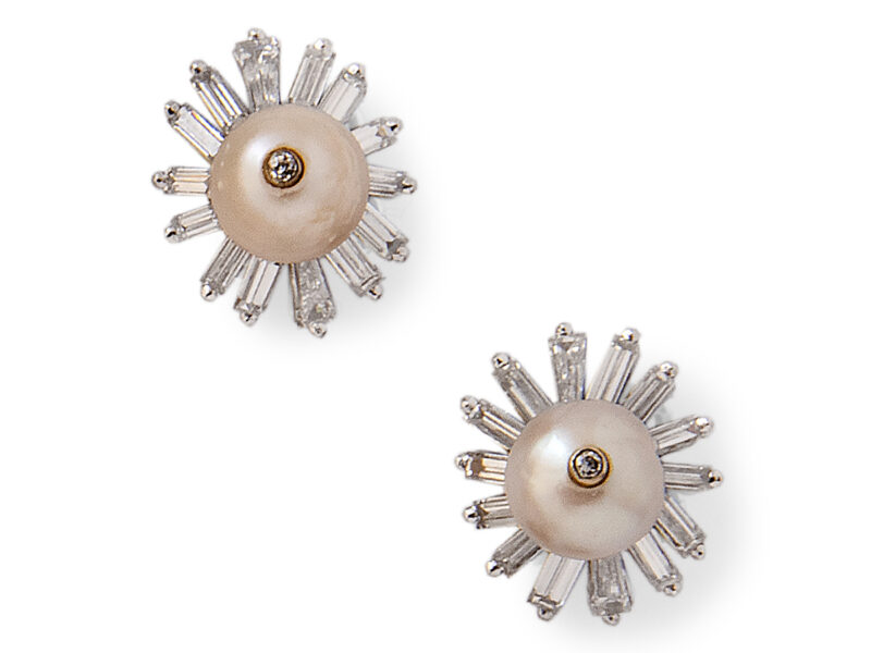 Pearl & Diamond Cluster Earrings