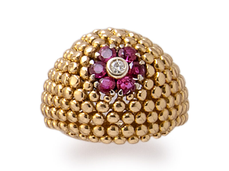 Ruby & Diamond 'Bombe' Ring