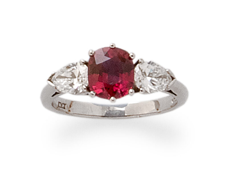 Ruby & Pear Shaped Diamond Three Stone Ring