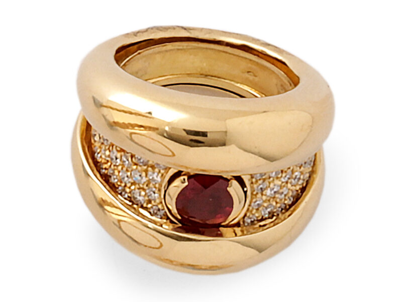 Ruby & Diamond 'Click' Ring