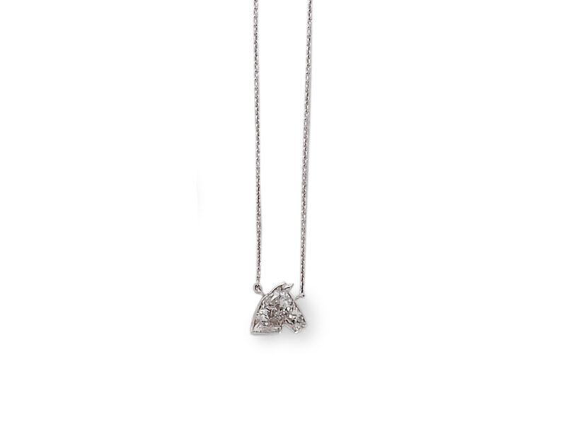Single Stone Diamond Pendant In The Form Of A Horses Head
