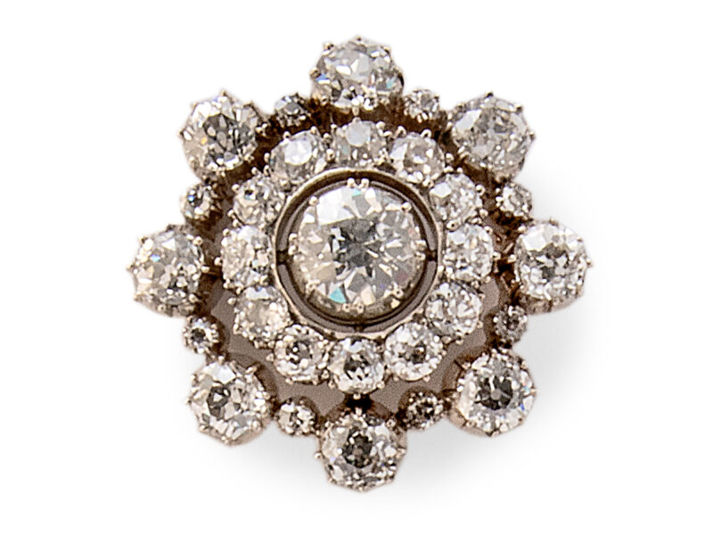 Victorian Diamond Set Cluster Brooch