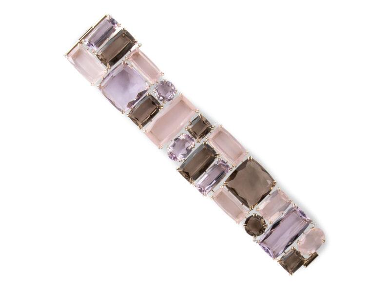 Bracelet Set With Amethyst, Smokey Quartz & Rose Quartz