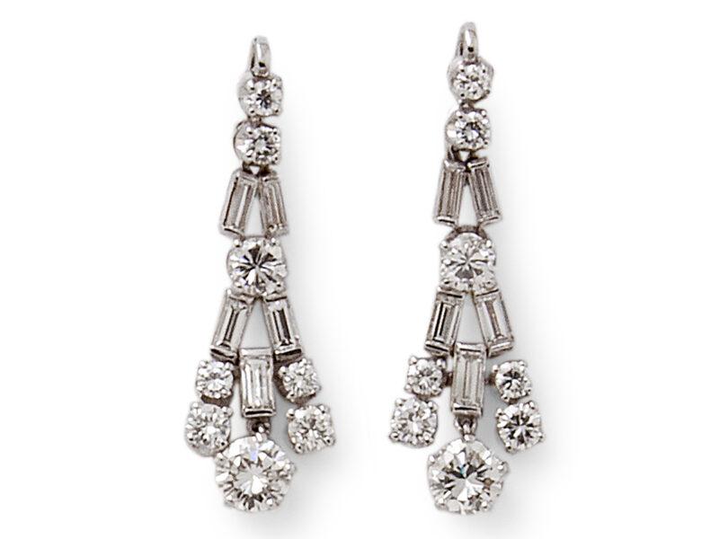 Diamond Drop Earrings Baguette & Brilliant Cut Stones