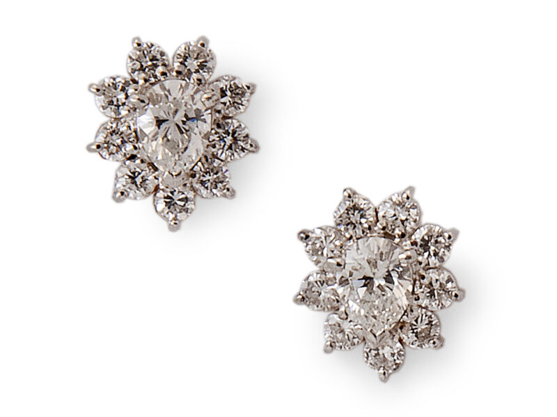 Diamond Pear Shaped Cluster Earrings
