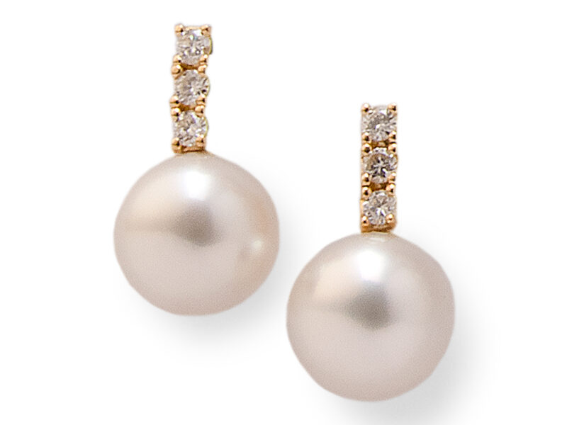 South Sea Cultured Pearl (15/15.5mm) & Diamond Drop Earrings
