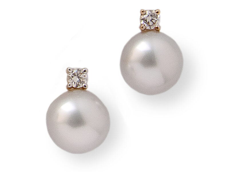 South Sea Cultured Pearl & Diamond Drop Earrings