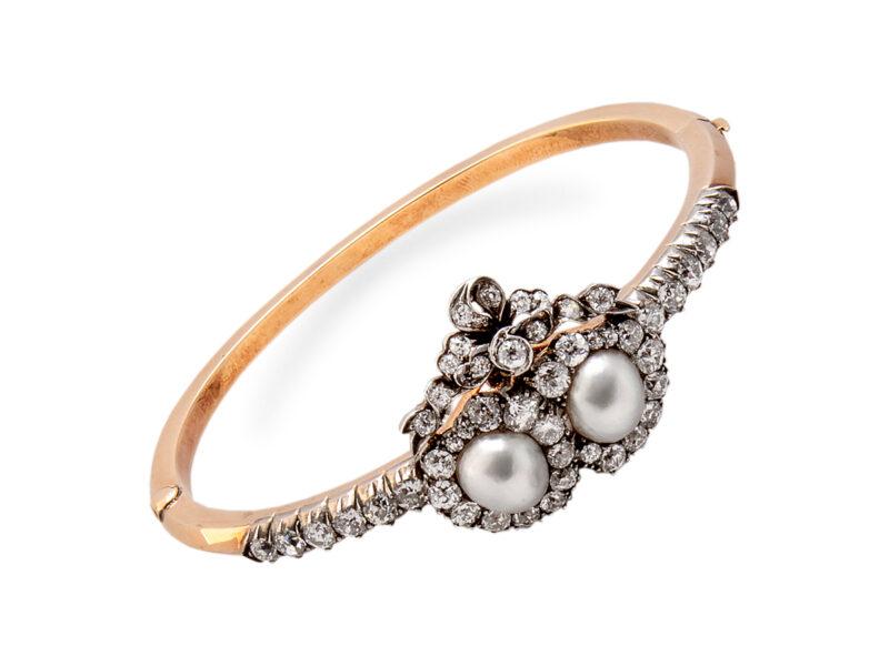 Victorian Pearl & Diamond Double Heart Bangle